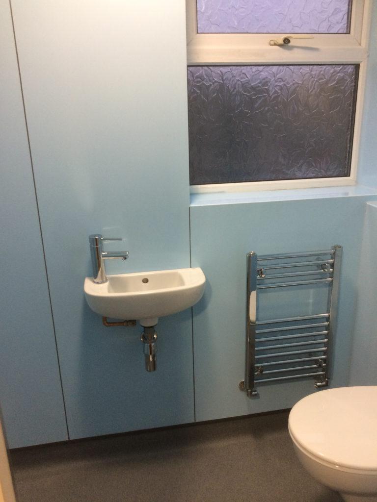 Sink, heated towel rail, WC