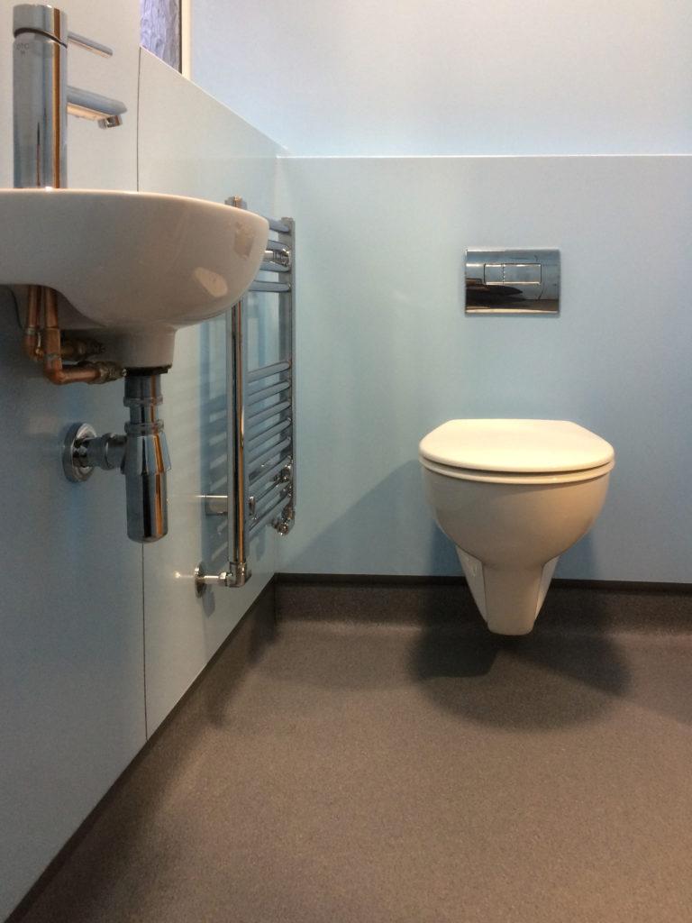 Sink plumbing, heated towel rail, WC with hidden cistern